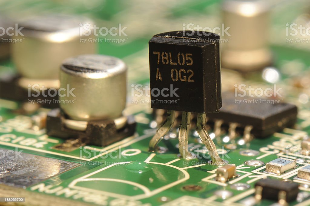 Components on Printed Circuit Board stock photo