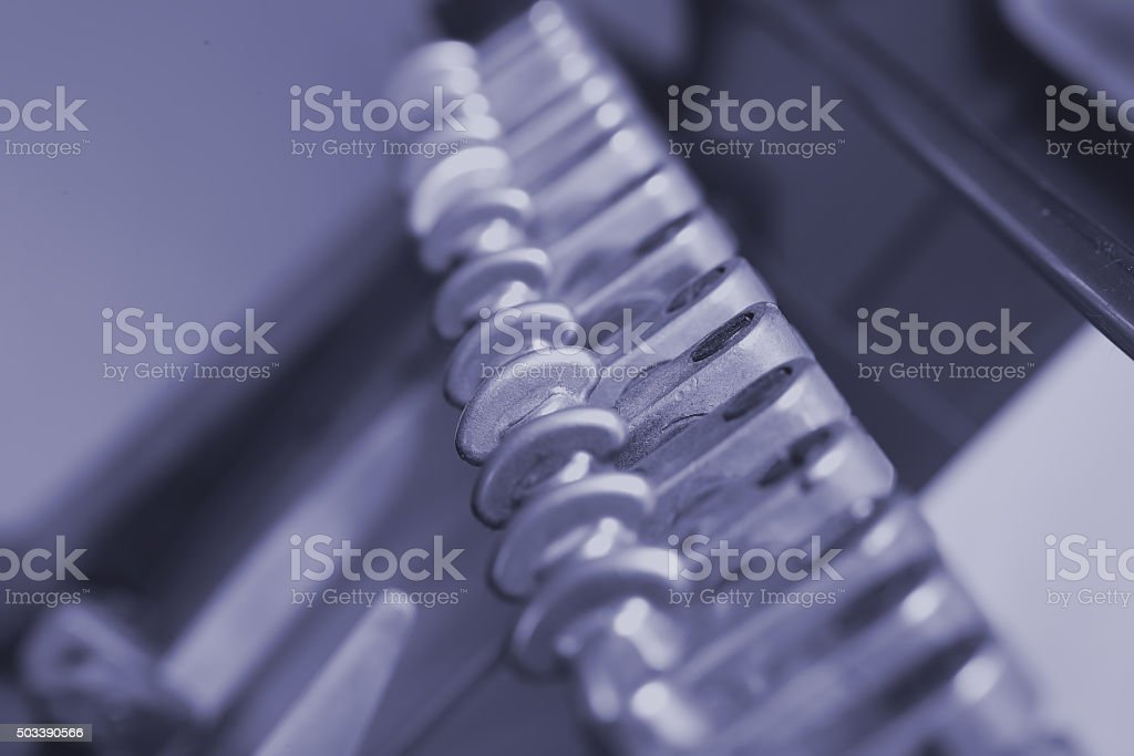 Components printing press working mechanism stock photo