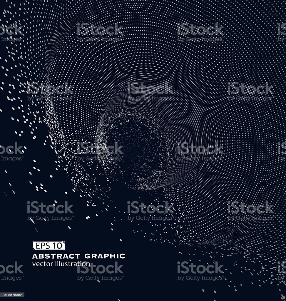 Composed of particles swirling abstract graphics stock photo