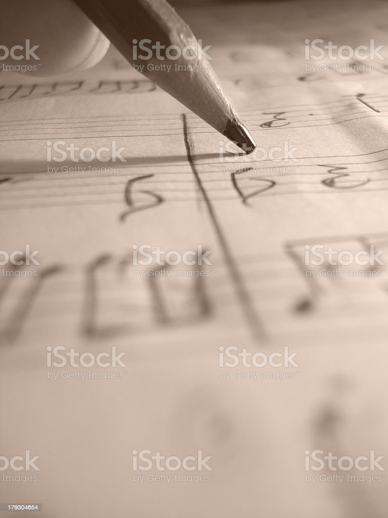 Composer writing music royalty-free stock photo