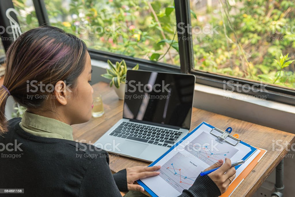 Composing and editing report before submission stock photo