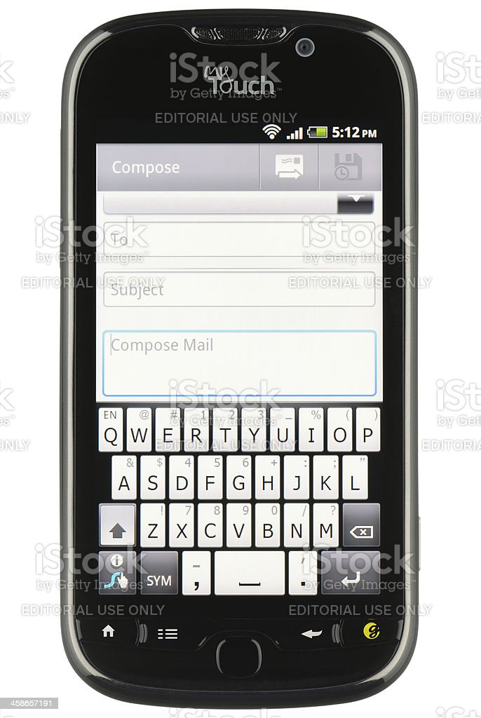 Composing Email on an Android Phone stock photo