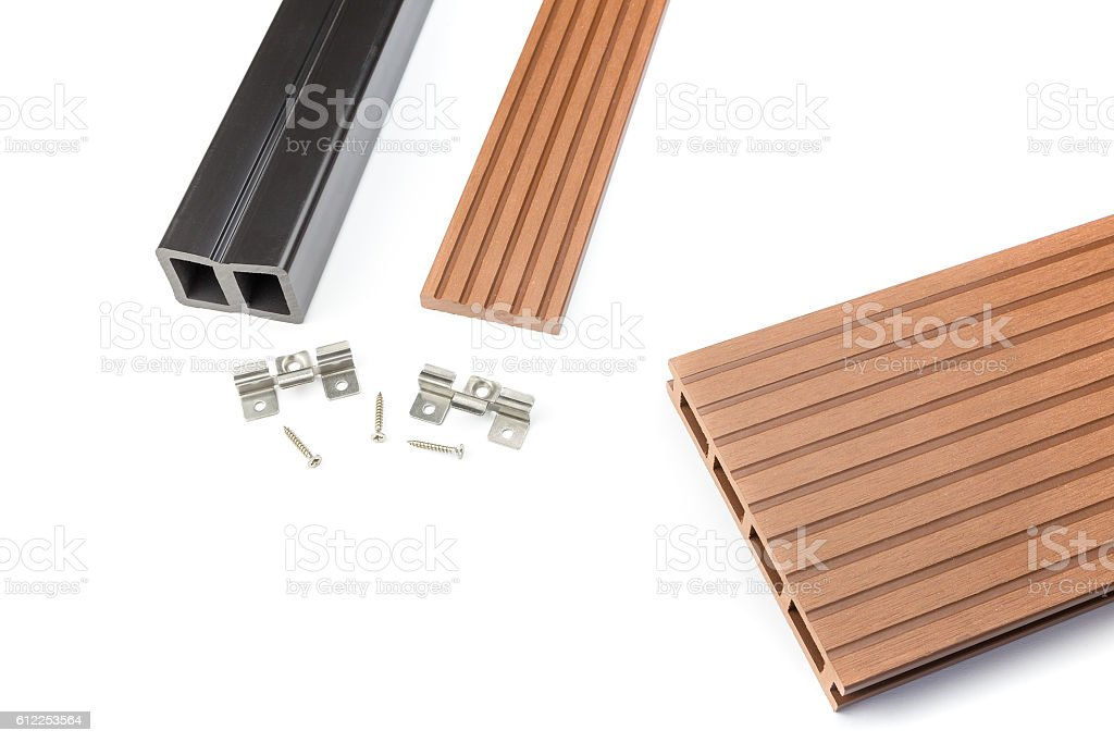 Composite decking board with mounting material stock photo