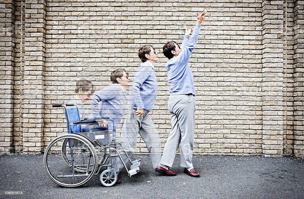 Composite image as old woman in wheelchair rises, cured royalty-free stock photo