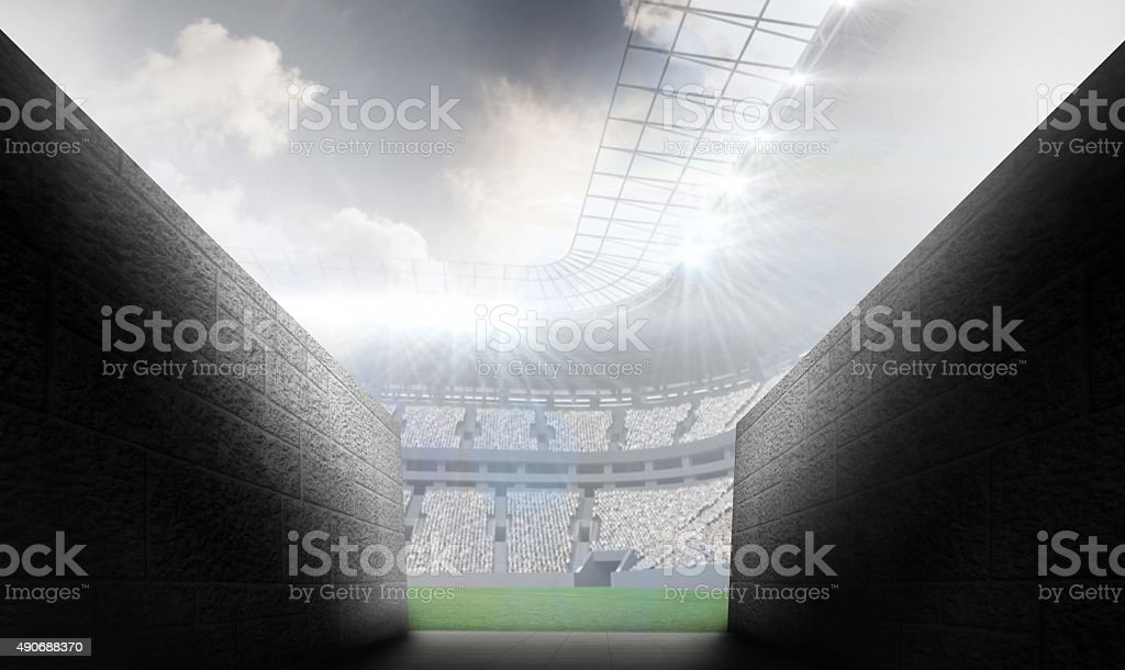 Composite image of arena tunnel stock photo