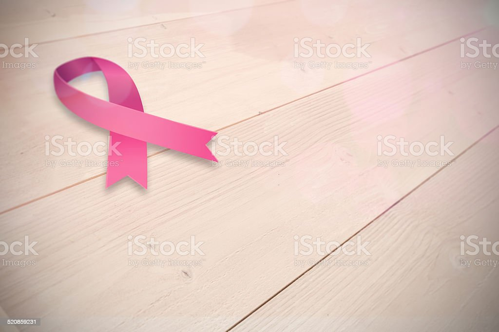 Composite image of breast cancer awareness ribbon stock photo