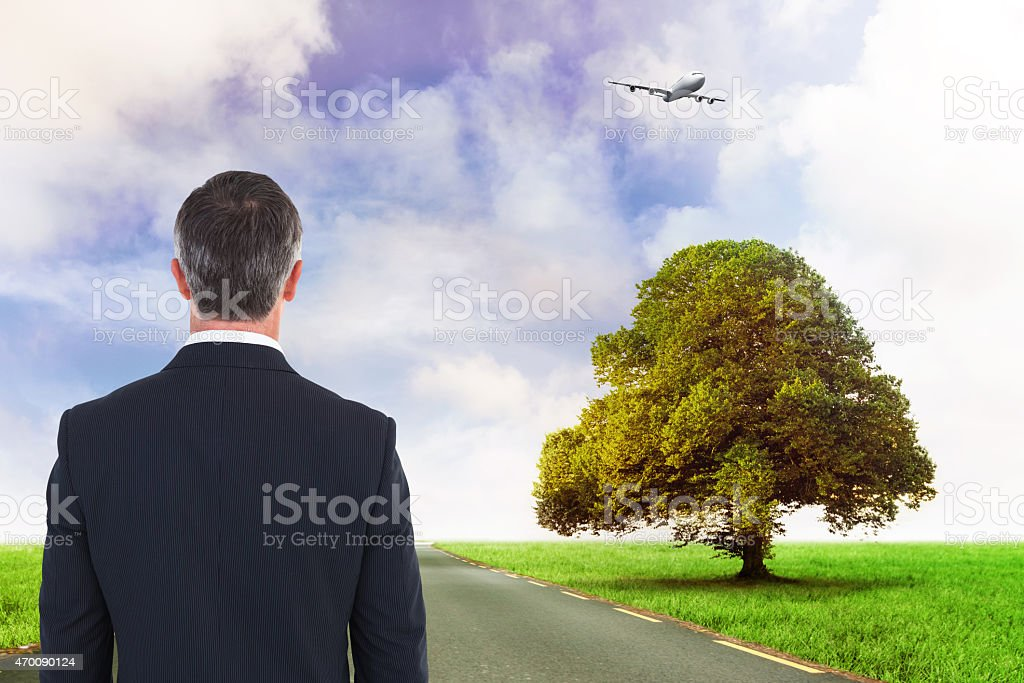 Composite image of businessman watching plane stock photo