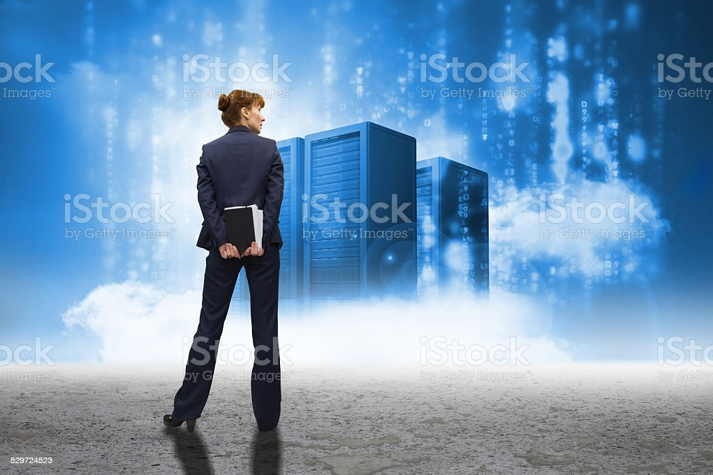 Composite image of businesswoman looking stock photo