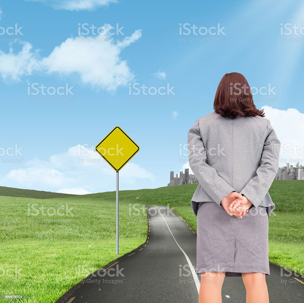 Composite image of businesswoman stock photo