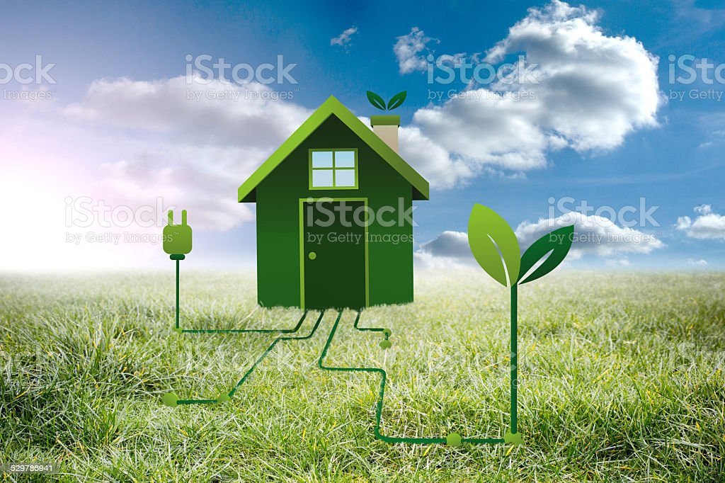 Composite image of clean energy house stock photo