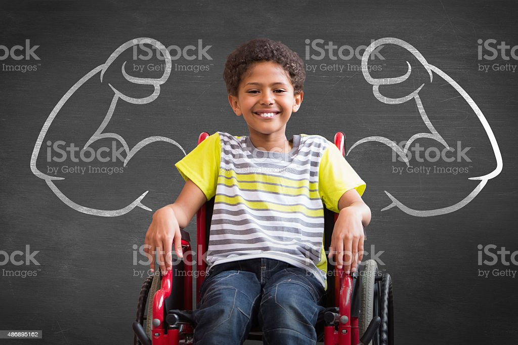 Composite image of cute disabled pupil stock photo