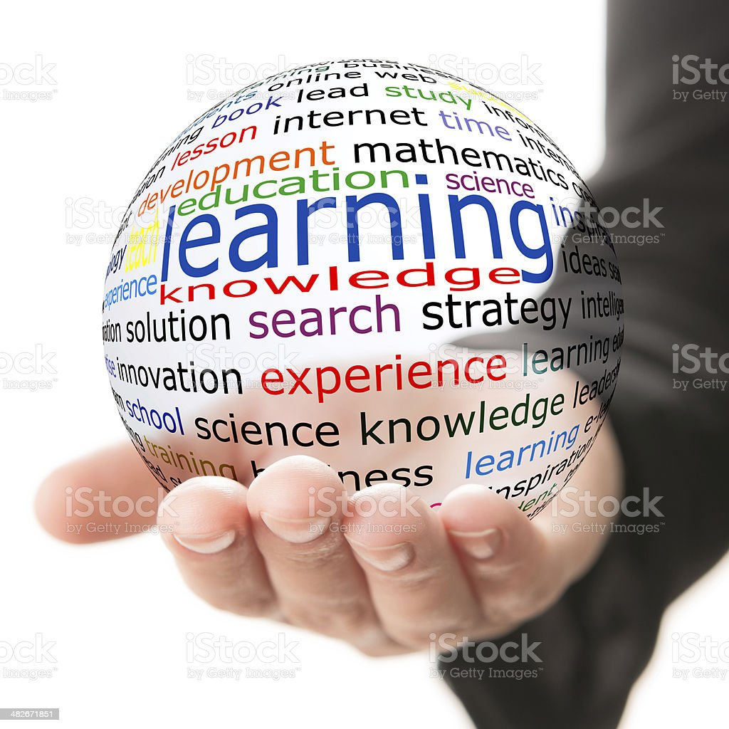 Composite image of hand and glass ball with terms stock photo