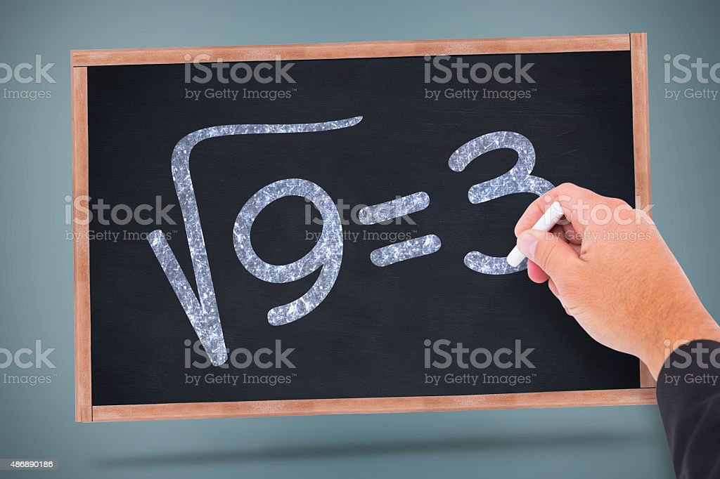 Composite image of hand writing with chalk stock photo