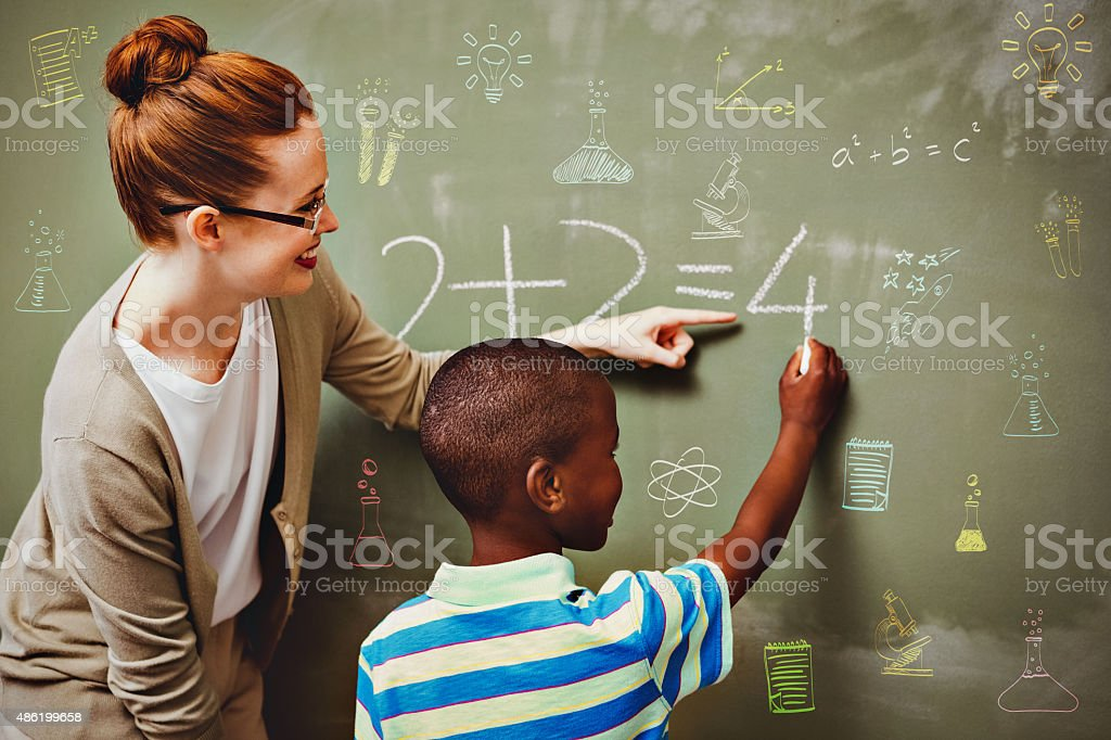 Composite image of school subjects doodles stock photo