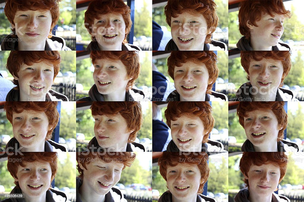 Composite image with multiple faces of young boy / child actor royalty-free stock photo