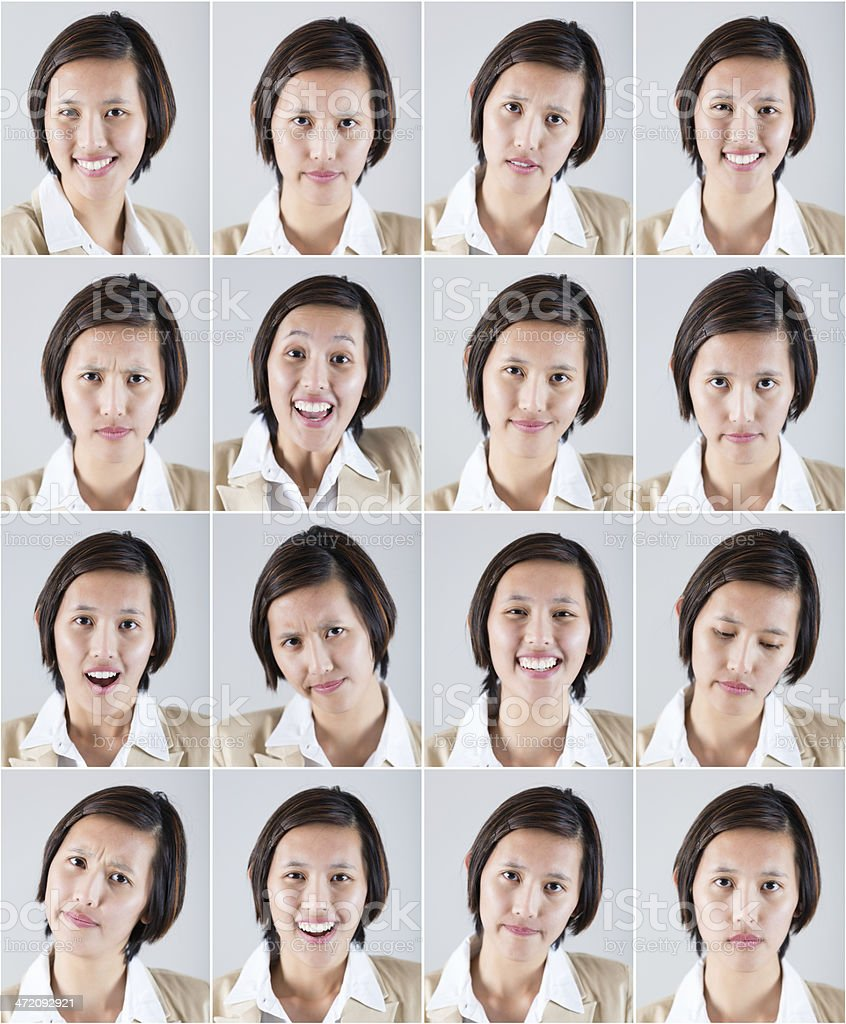 Composite of Asian woman with various emotional expressions stock photo