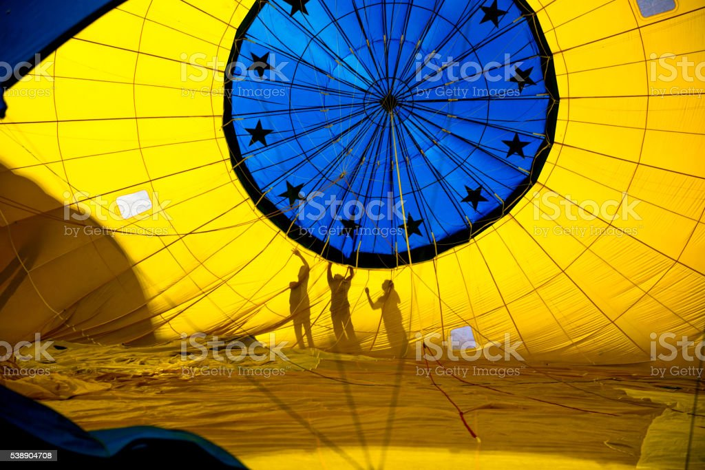 Composite of hot air balloons stock photo