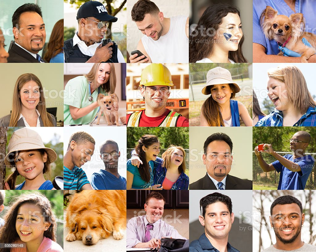 Composite people collage. Multi-ethnic group, mixed ages. Various jobs. Dogs. stock photo