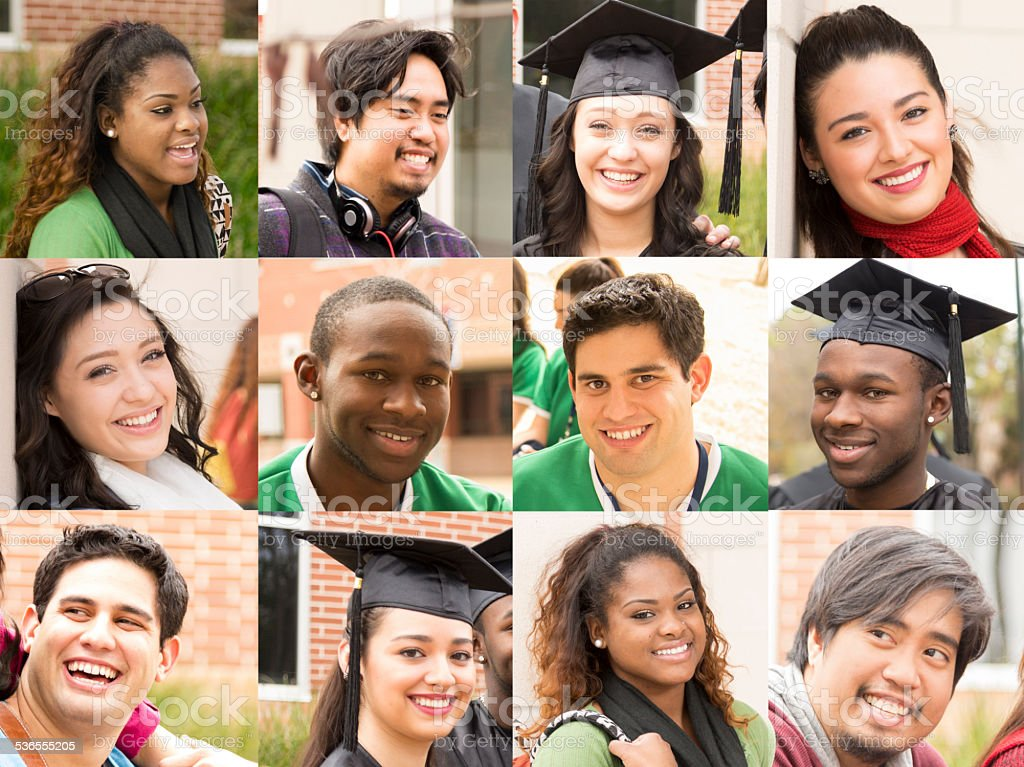 Composite people collage. Multi-ethnic group, young adults. College students. stock photo