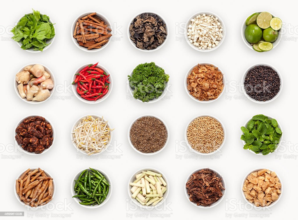 composite with varieties of ingredients stock photo