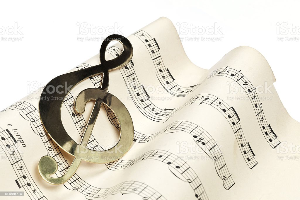 Composition Background With Treble Clef royalty-free stock photo