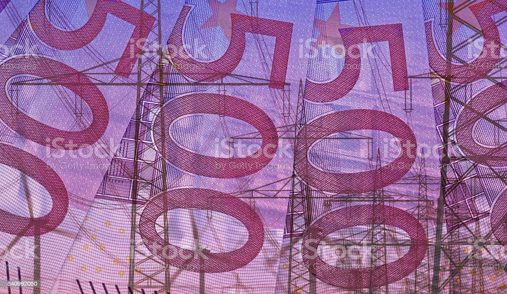 Composition Euro bills and infrastructure stock photo