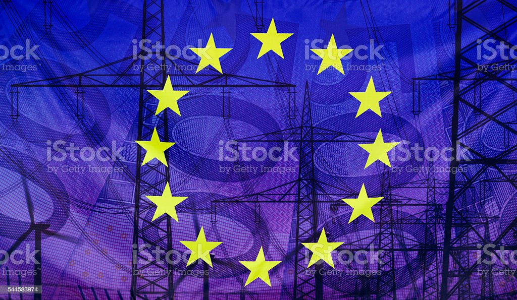Composition European flag and technology money stock photo