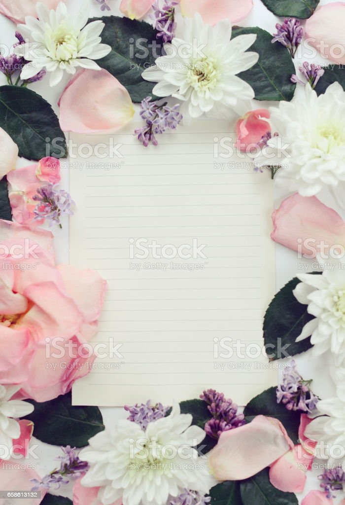 composition flat lay and paper sheet stock photo
