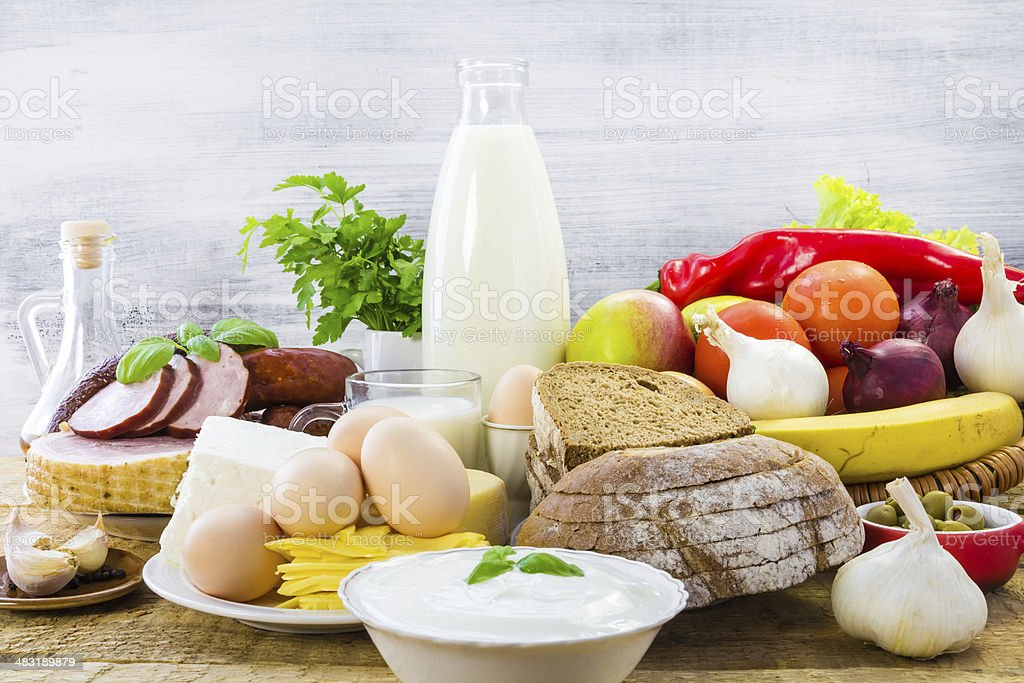 composition food products table stock photo