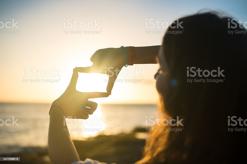 Composition frame- capture the sunset stock photo