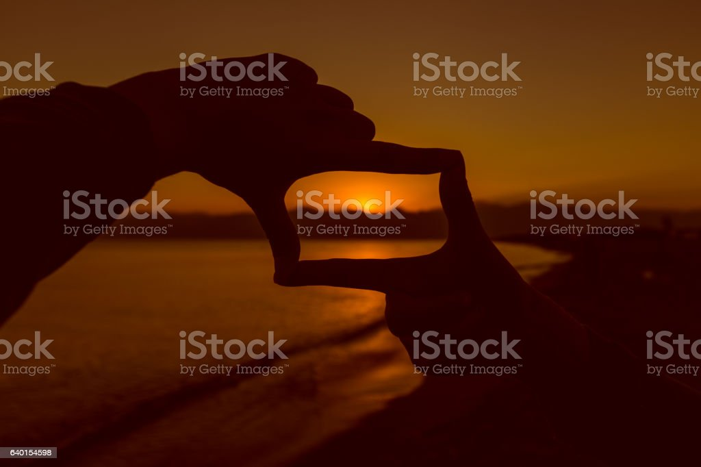 Composition frame capture the sunset stock photo