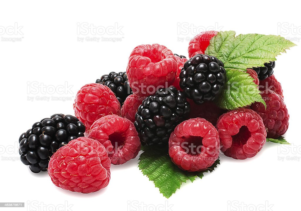 composition from a blackberry and raspberry stock photo