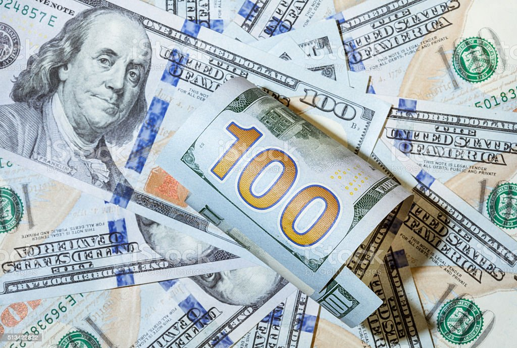 Composition from dollar banknotes stock photo