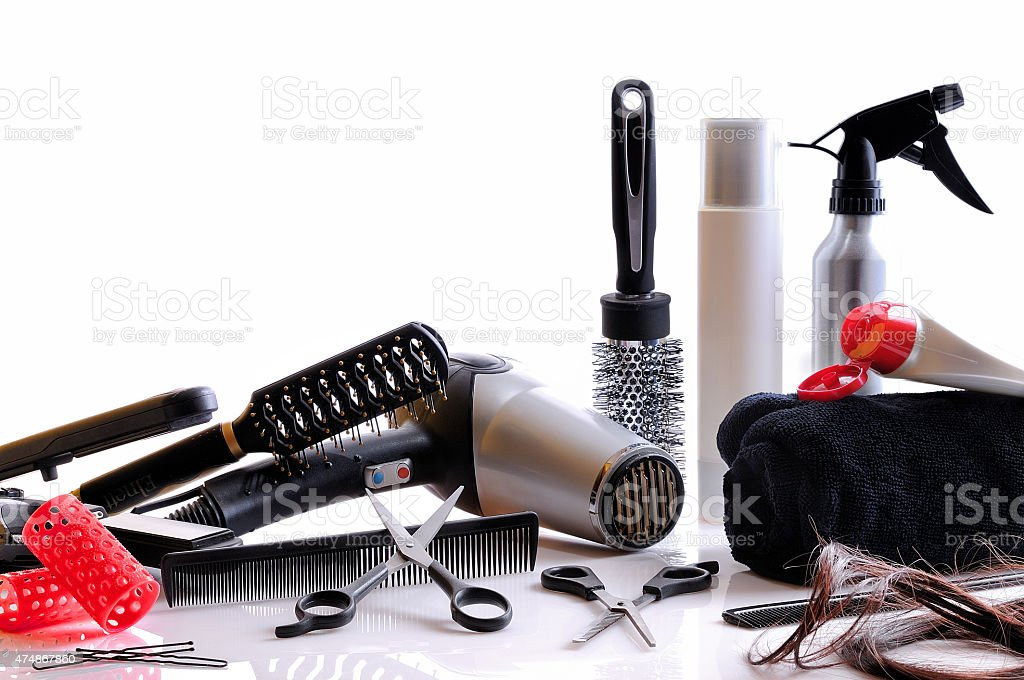 Composition hairdressing tools isolated stock photo
