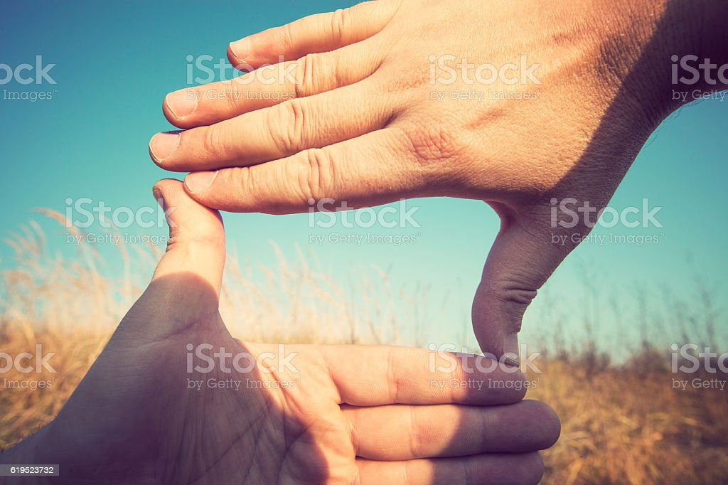 Composition hand frame stock photo