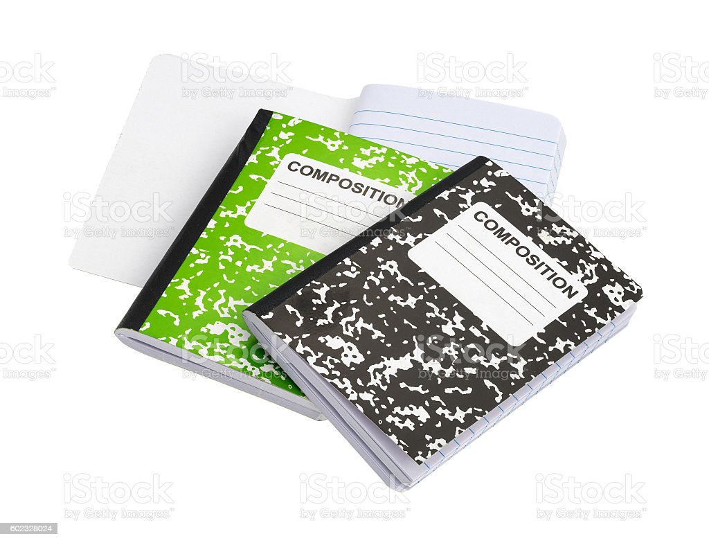 Composition Book Cover Background ~ Composition notebooks on a white background stock photo