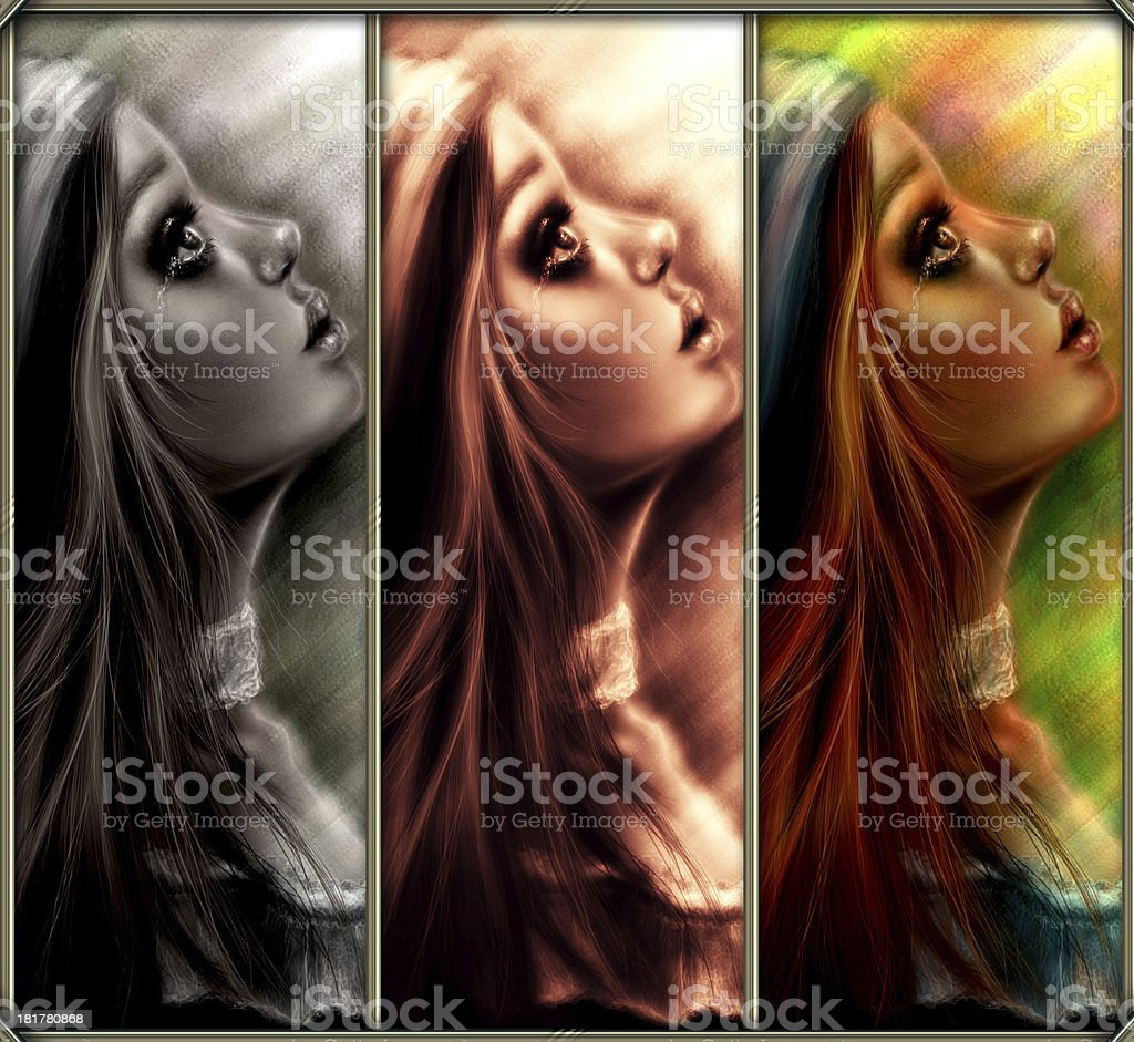 Composition of a Crying girl royalty-free stock photo