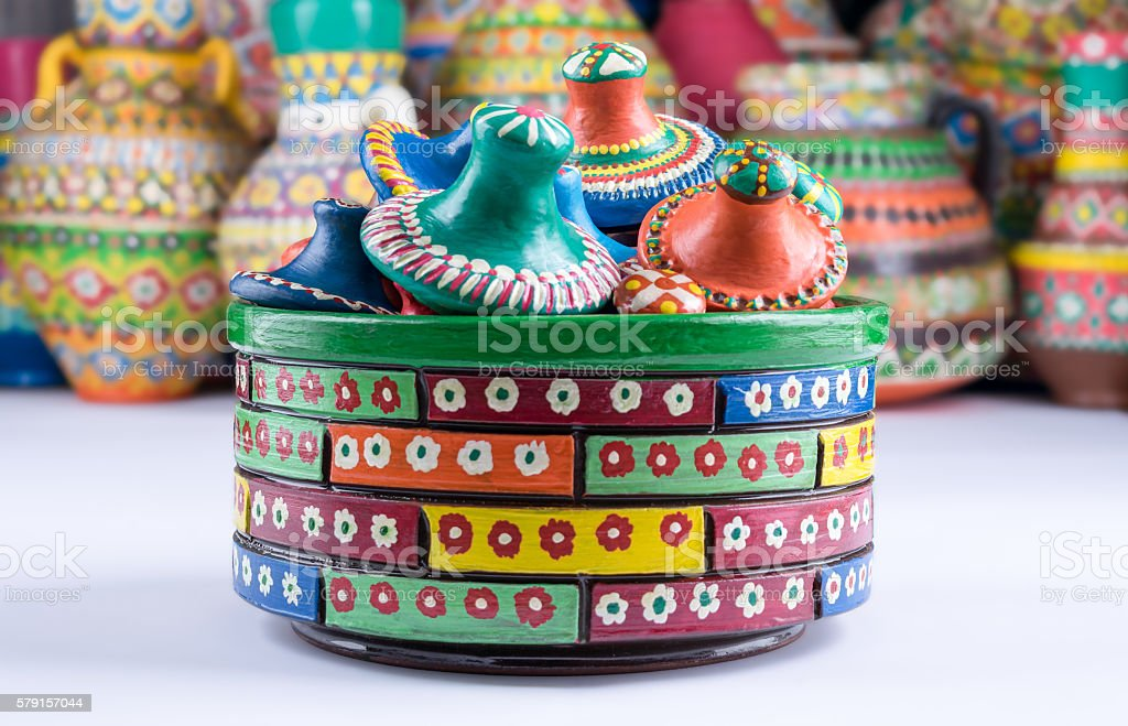 Composition of artistic handcrafted painted pottery stock photo