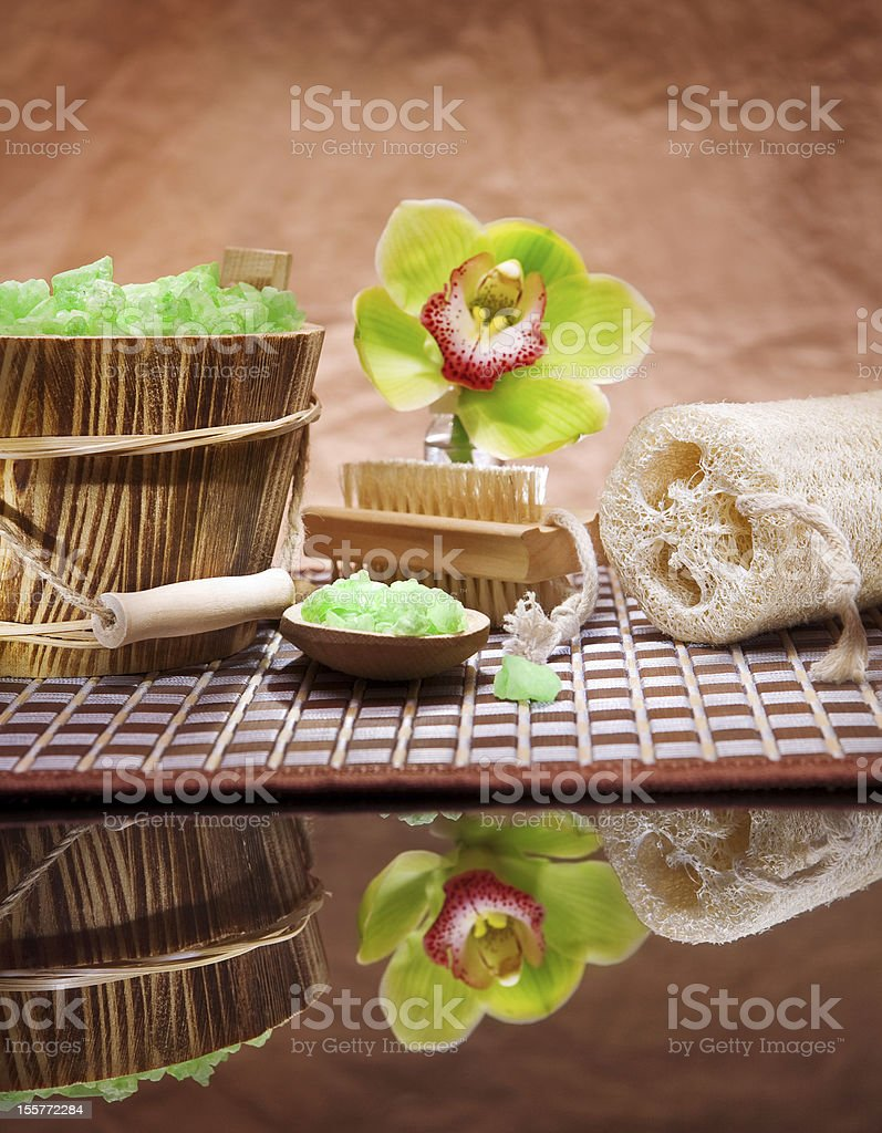 composition of bathing accesories stock photo