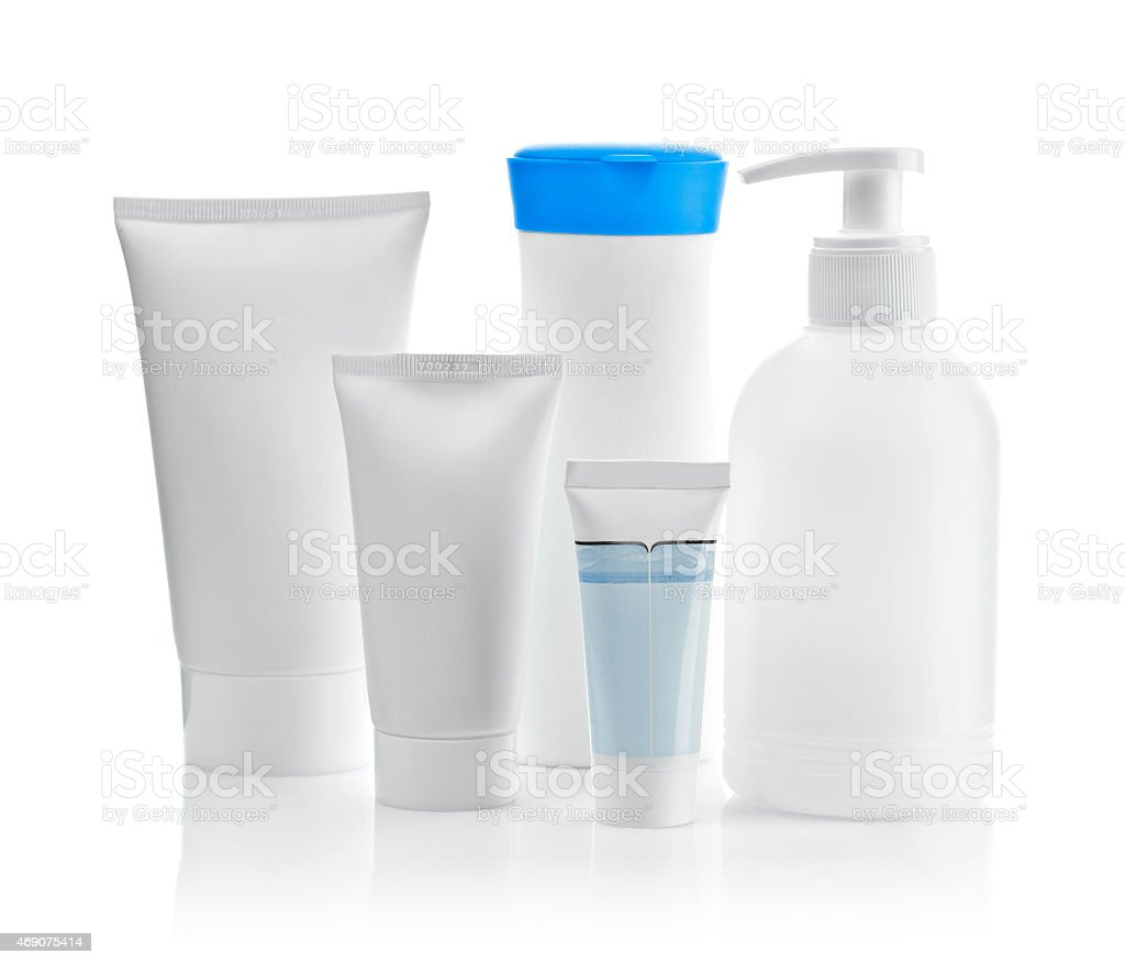 composition of bottles and tubes stock photo