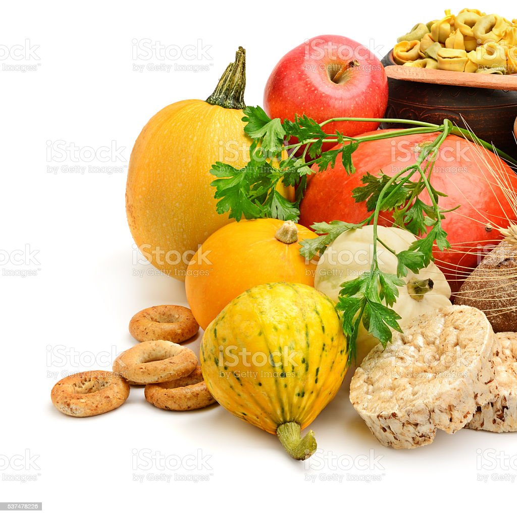 Composition of bread, milk, vegetables stock photo