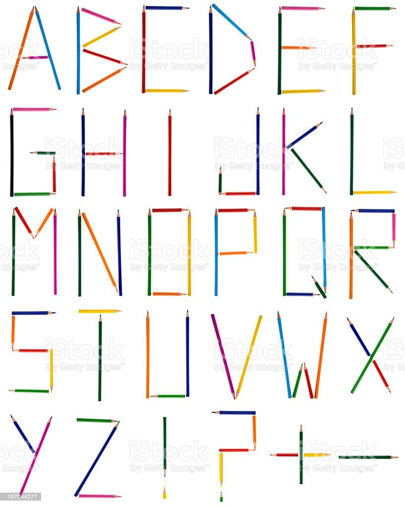 composition of colored pencil crayon alphabet characters  isolat stock photo