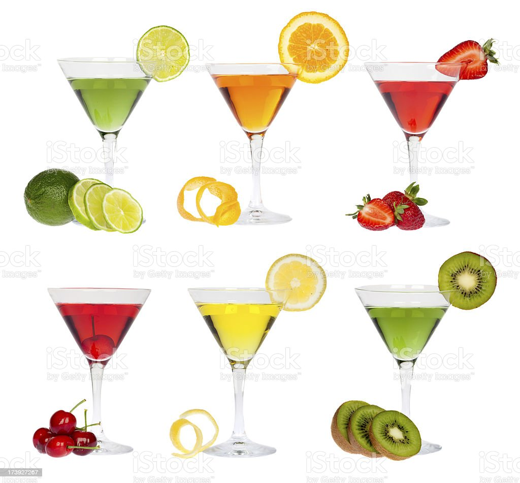 composition of colorful martini glass and fruit isolated royalty-free stock photo