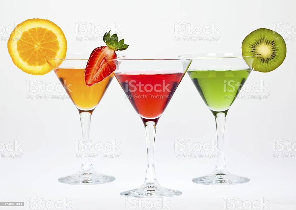 composition of colorful martini glass and fruit royalty-free stock photo