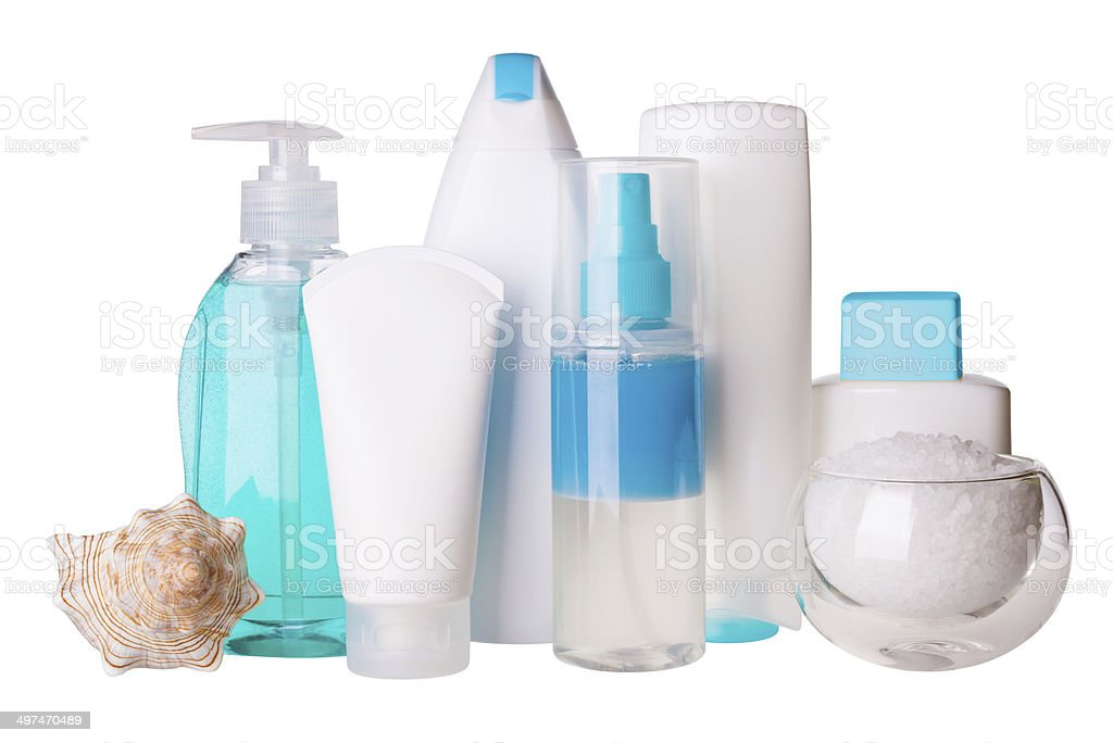 Composition of cosmetic bottles and spa salt stock photo