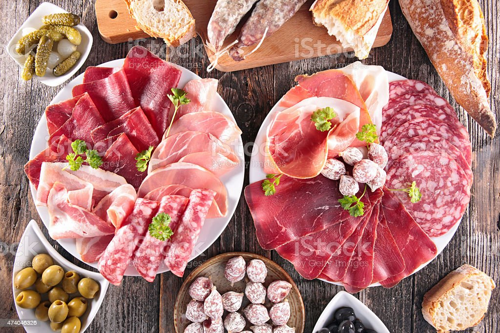 composition of delicatessen stock photo