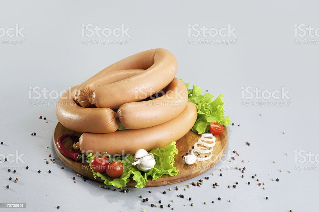 Composition of different sorts sausages and meat royalty-free stock photo