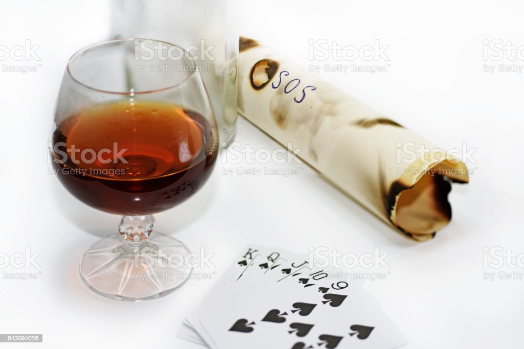 Composition of drinking and playing cards. stock photo