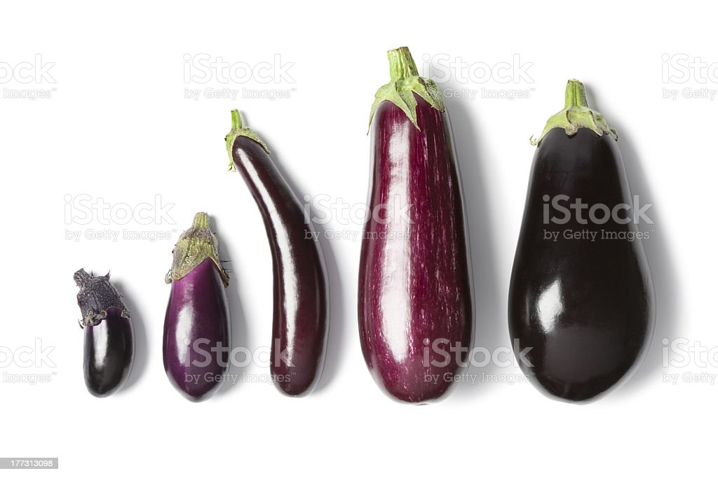 Composition of eggplants stock photo