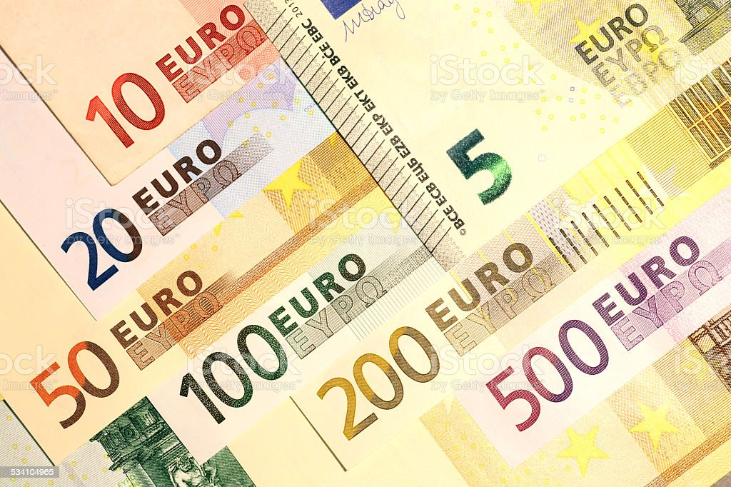Composition of euro banknotes stock photo